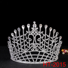 Imperial Medieval King Hair Crowns Clear Rhinestone Silver King Pageant Tiara For Men