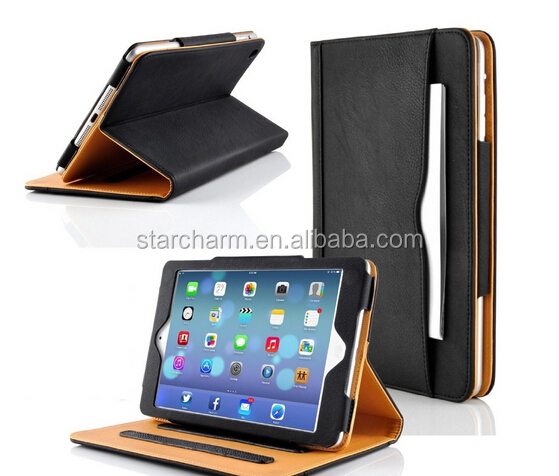 High Quality with Sleep and Wake Up Function Tan Leather Case for ipad air 2