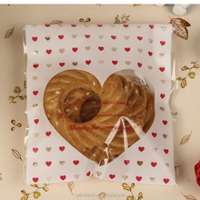 Lovely Wonderful Heart Shape Opp Plastic Self Adhesive Shrink Cookie Bag With Adhesive Tape