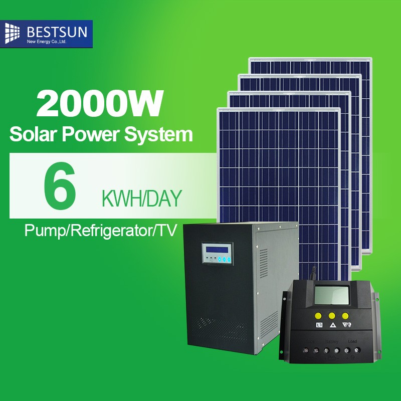 BEST SUN 2kw solar home power generator system ( panels, controller, battery, inverter) 2000W