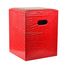 Decorative leather storage stool,wooden leather stool wholesale
