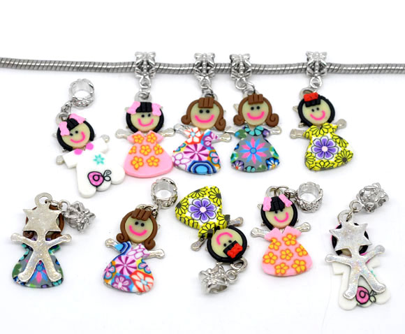 Mixed Polymer Clay Girl /Kids Charm Dangle Beads For Charm Bracelet