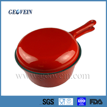Enamel Cast Iron Long Handle Double Pot With Grill