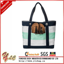 Custom Logo Large Capacity Stripe Canvas Beach Bag For Women Travelling with zipper