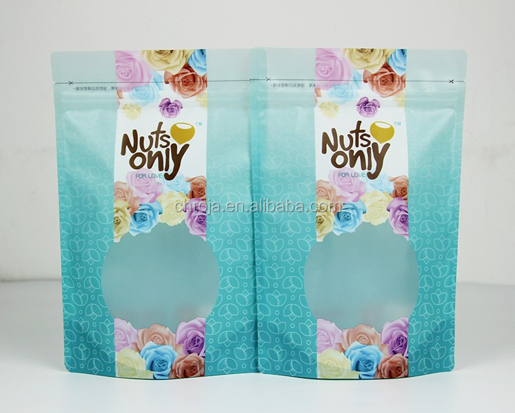 High quality stand up resealable clear window plastic bag for nuts