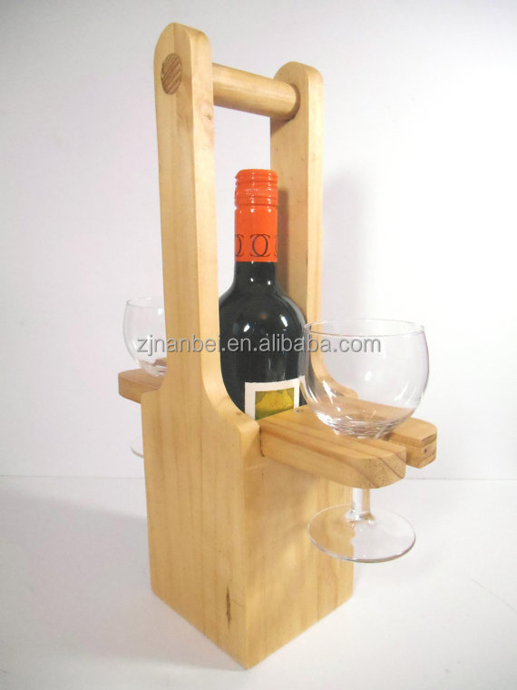 Custom personalized single bottle wooden wine carrier tote with two glass