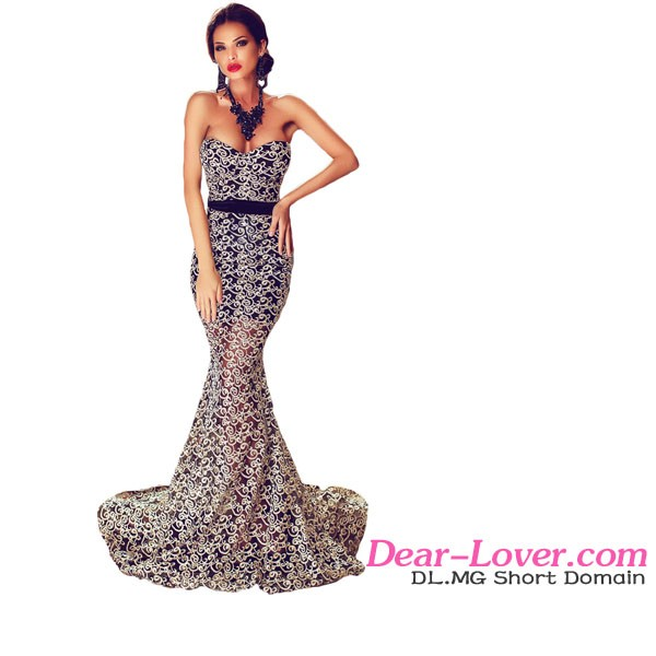Amazing Gold Lace Overlay Slit Maxi turkey women office dresses