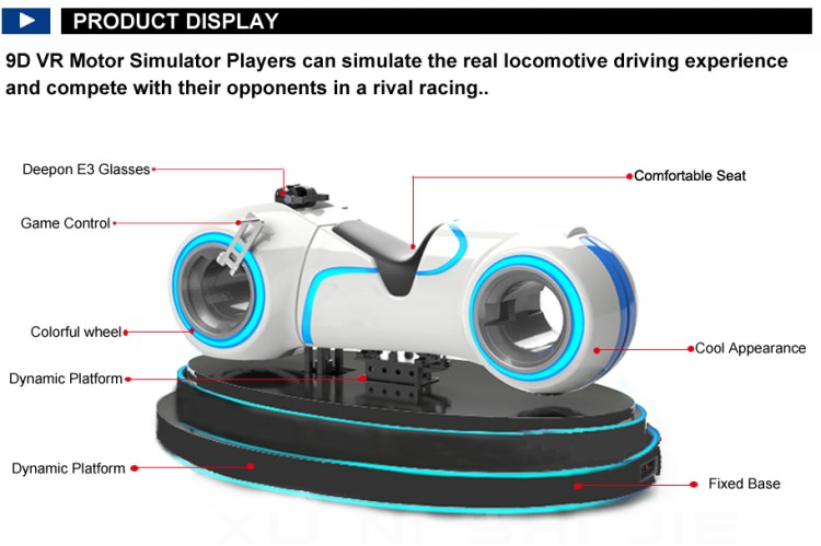 Indoor 9D Virtual Reality VR Driving Simulator VR Motorcycle Racing Game