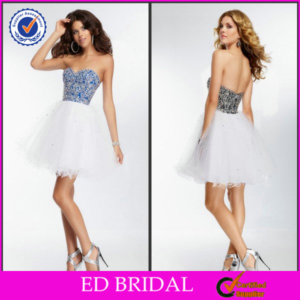 EDC043 Latest Crystal Empire Waist Puffy Sweetheart White Short Cocktail Dresses
