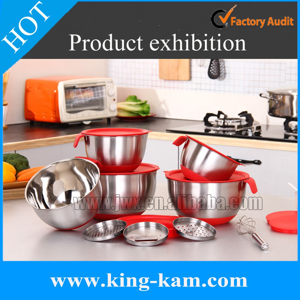 201 SS bowl set of 5 with lid and manual slicer
