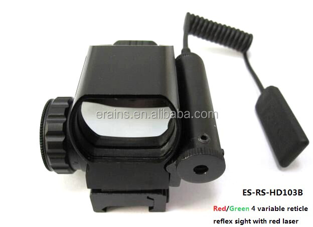 Erains TAC Optics Tactical Reflex Sight with 4 variable red dot reticles scope with red laser sight attached
