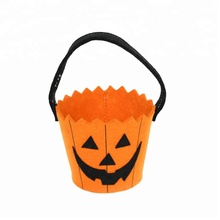 Hot Sale Halloween Felt Pumpkin Bucket