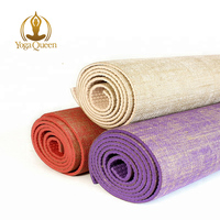 Natural organic non-toxic ecofriendly jute yoga mats with custom logo/ Natural Rubber Anti-Tear Eco Jute Cotton Yoga Mat