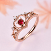 925 silver sweet and temperament high quality unique rhinestone crown opening ring for women