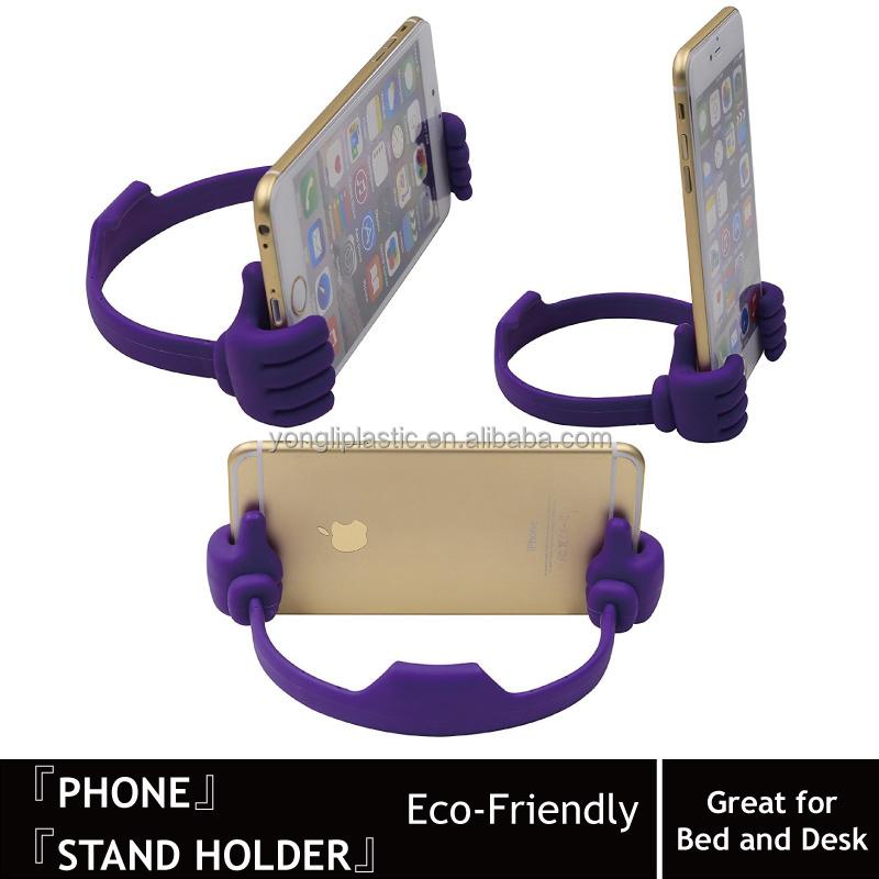 Cute Thumbs Up Adjustable Tpu Flexible Cell Phone Holder for Desk