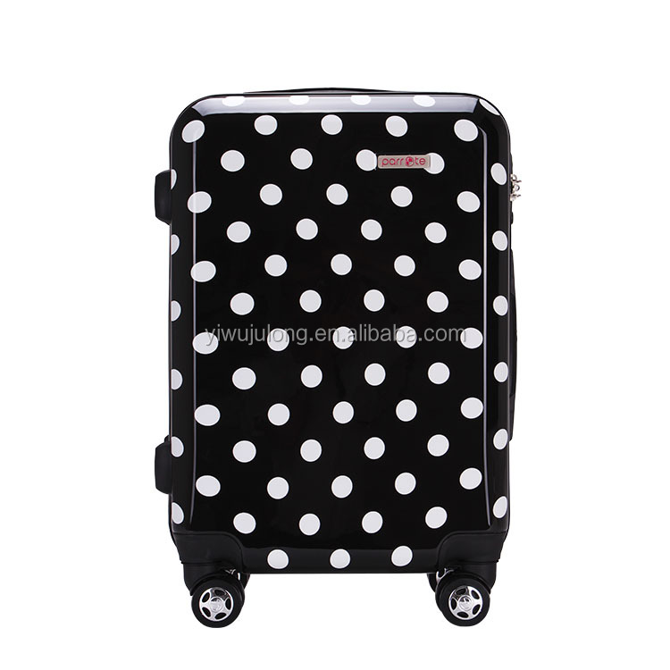 PC+ABS 20 24 28 inch cute white wave point girls women travel trolley luggage