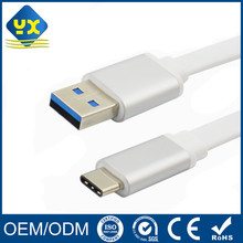 Flat White Type-C USB Cable Aluminum Shell USB 3.1 Type C Male to USB 3.0 A Male Charging Cable