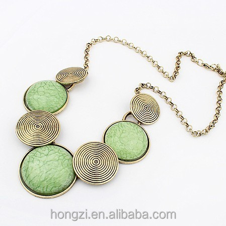 3 Colors Gems Vintage Statement <strong>Necklace</strong> Metal Round <strong>Necklaces</strong> & Pendants Woman
