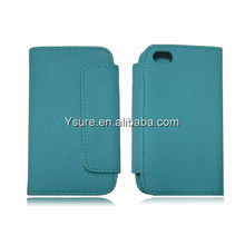 light blue Credit ID Card PU leather wallet case for apple iphone 4 4S OEM and ODM