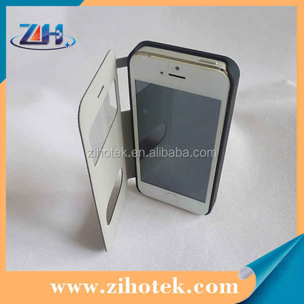 Wholesale Sublimation flip leather cover phone case for iphone 5/5s with window opend