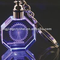 3d laser engraving personal logo crystal keychain with LED Light