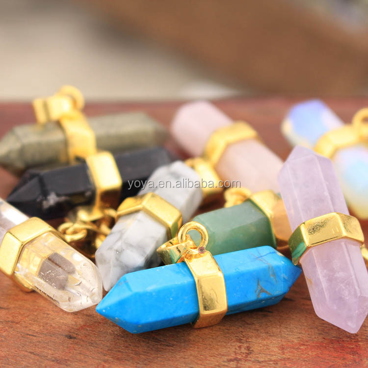 JF6779g natural crystal stone double terminated horizontal point pendants with gold bail clasp