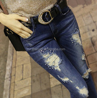 New Design Trendy Popular Ripped Jeans For Young Women
