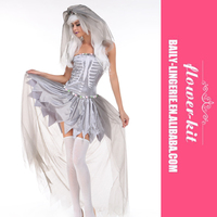Halloween Carnival Nude Cosplay Costume Patterns Sexy Ghost Bride Costume Corpse Bride Dress