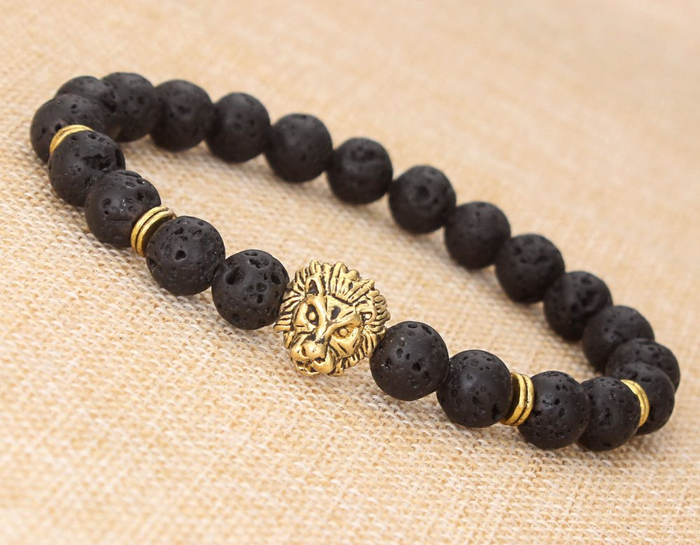 2016 Hot sell Women men 's Lava volcano stone buddha bead bracelet with lion tiger head charm