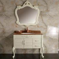 Classic european style floor mounted PVC antique bathroom vanity cabinet set