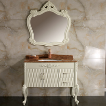 Classic european style floor mounted PVC antique bathroom vanity cabinet set