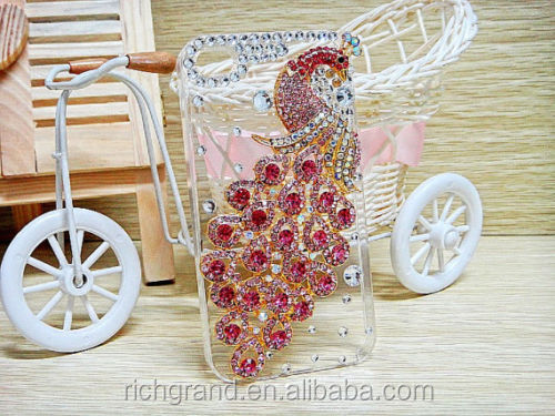 For Various Mobile Phones Bling Luxury Lovely Peacock Rhinestones Crystals Case