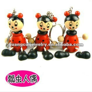 fashion wooden doll keychain key chain promotional key rings fobs