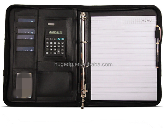 a4 leather calculator zippered padfolio with hidden handle fits letter legal notepads