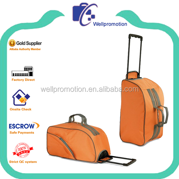 Orange 600d polyester sport duffel bag trolley with handles