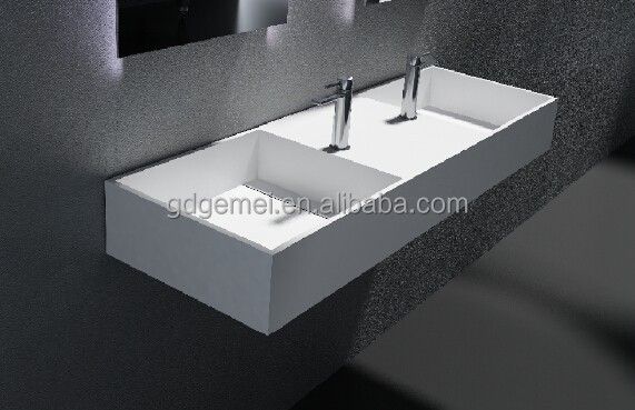 Bathroom Solid Surface Double Sinks stone resin wall hung basin GM-2055