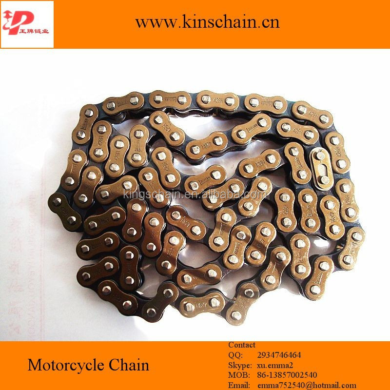 Cheap price motor parts yellow plated 428H motorcycle roller chain
