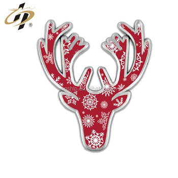 Shiny nickle plated enamel gilt metal Christmas Deer Pin badge