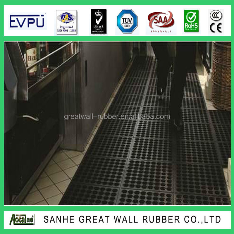 Great Wall Factory 30 years Black color Anti-fatigue rubber mat 16mm x 914mm x 914mm PAHS,REACH,CE ISO9001