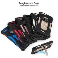 Colorful Shockproof Tough Tech 2 in 1 Hybrid Armor Phone Case For iPhone SE 5 5s with Kickstand