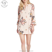 Latest design floral spiral sleeve mini dress lady fashionable western dresses