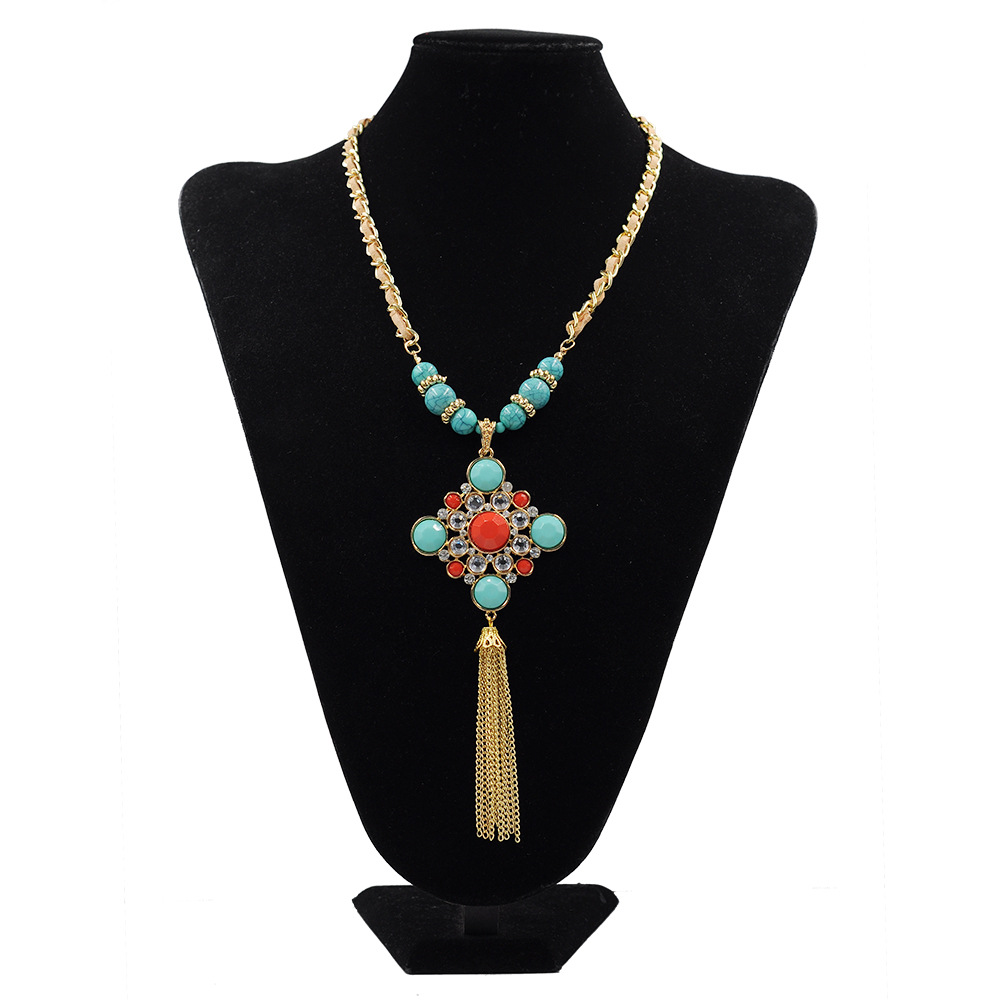 New European American Leather Jewelry Sets Bohemia Tassel Exaggerated National Wind Pendant Necklace