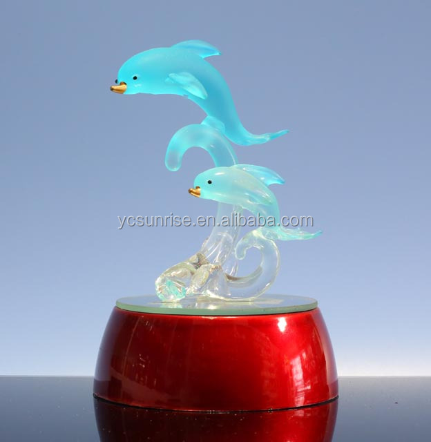 Chirstmas LED Ornaments for home decoration /glass Dolphin with LED lighting