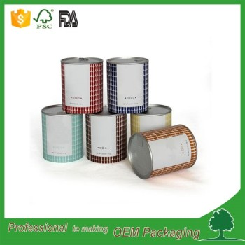 FDA tear off membrane lid round box aluminium foil lined paper tube for food packaging with safety membrane Guangdong supplier