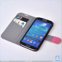 Bling Diamond Sublimation Leather Stand Case with Card Slots for Samsung Galaxy S4/i9500 P-SAMI9500CASE153