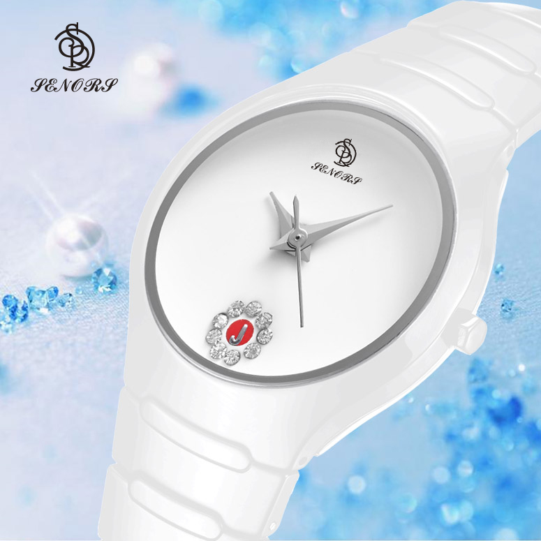 Valentine's day gifts cheap white ceramic waterproof watch