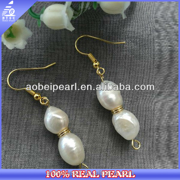 E-AB0037 AA 9-10mm baroque beaded handmade pearl dangle earring