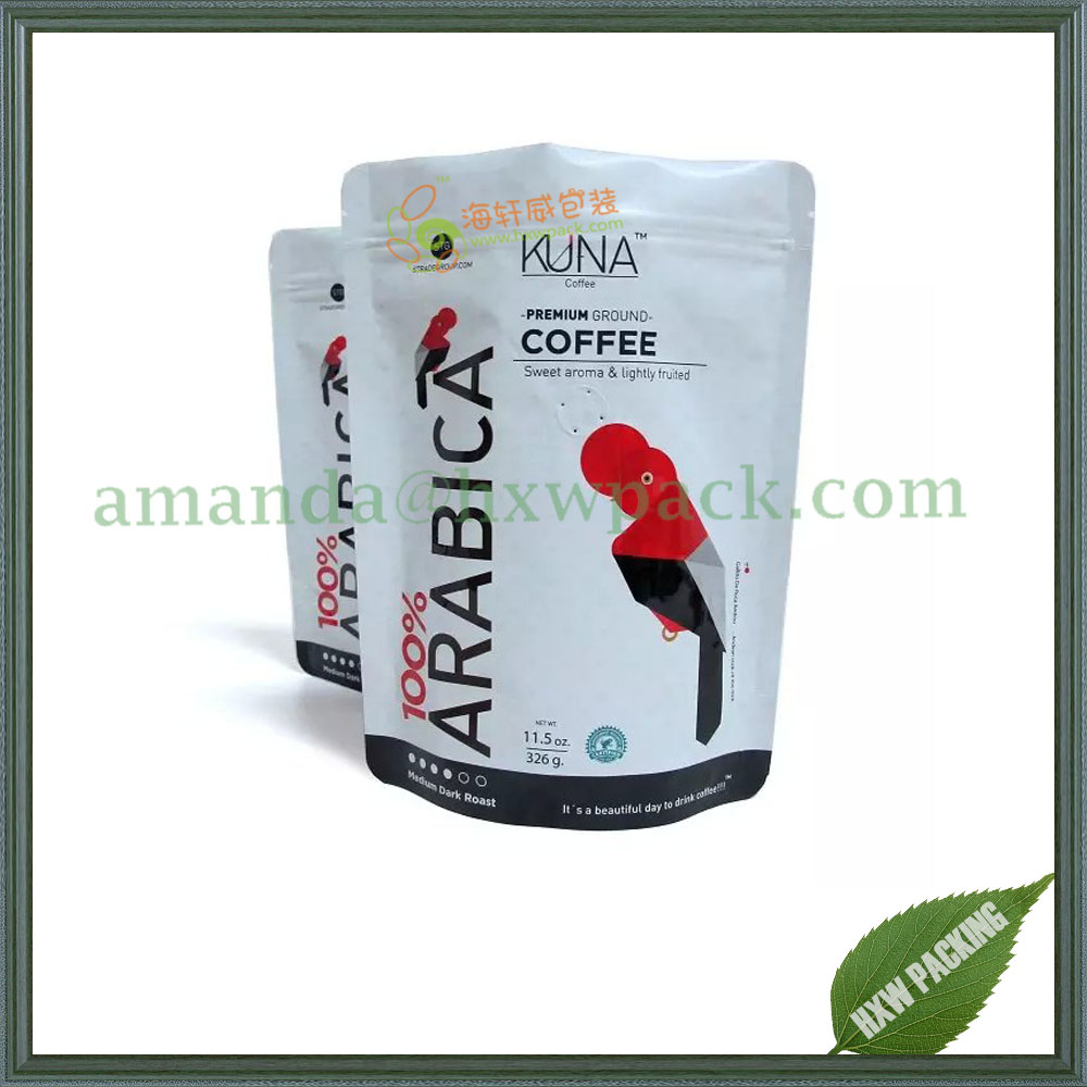 resealable matte white coffee stand up pouch with zipper and coffee valve