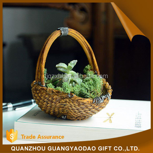 Figurine polished stone horse resin craft bamboo basket garden decoration