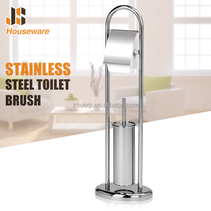 Free standing Bathroom stainless steel Toilet Brush with Paper Holder
